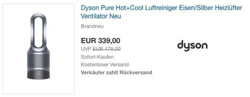 Dyson Pure Hot+Cool Luftreiniger Heizlüfter Ventilator - jetzt 6% billiger