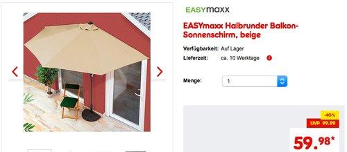 EASYmaxx Halbrunder Balkon-Sonnenschirm, beige - jetzt 20% billiger