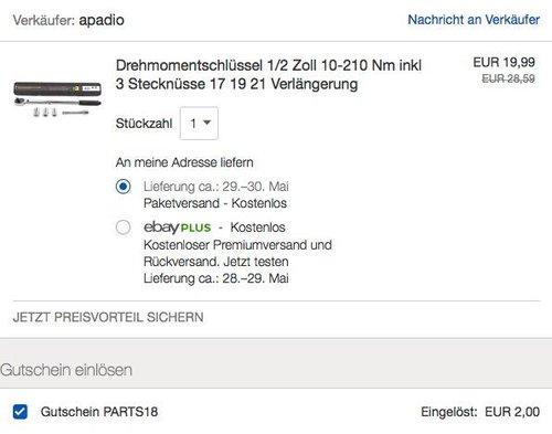 eBay 10% Gutschein auf Fahrzeugzubehör: Drehmomentschlüssel 1/2 Zoll - jetzt 10% billiger