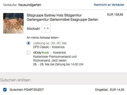 eBay 10% Gutschein auf Garten- & Heimwerkerartikeln: Sitzgruppe Sydney Holz Sitzgarnitur - jetzt 10% billiger