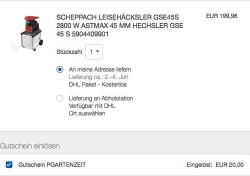 eBay 10% Gutschein auf Garten- & Heimwerkerartikeln: Scheppach Leisehäcksler GSE45S, 2800 W - jetzt 10% billiger