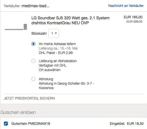 eBay 10% Rabat-Aktion auf medimax-Highlights - Bsp.: LG Soundbar SJ5 320 Watt - jetzt 10% billiger