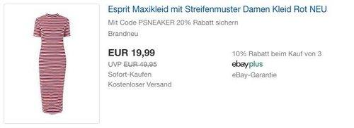 eBay 20% Rabat-Aktion auf Mode & Sneaker: Esprit Maxikleid mit Streifenmuster Damen Kleid - jetzt 20% billiger