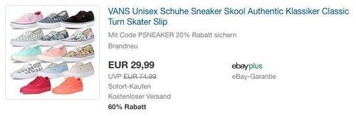 eBay 20% Rabat-Aktion auf Mode & Sneaker: VANS Unisex Schuhe Sneaker Skool Authentic - jetzt 20% billiger