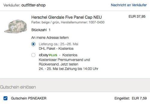 eBay 20% Rabat-Aktion auf Mode & Sneaker: Herschel Glendale Five Panel Cap - jetzt 20% billiger