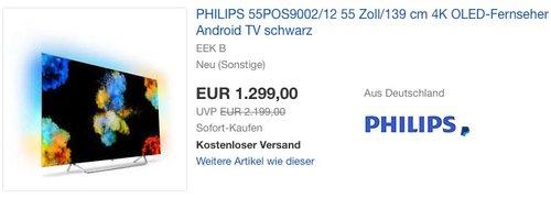 eBay: PHILIPS 55POS9002/12 55 Zoll/139 cm 4K OLED-Fernseher neu und unbenutzt aber leichte Verpackungsmängel können vorhanden sein - jetzt 18% billiger