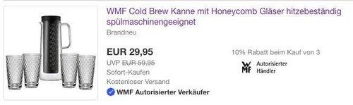 eBay WMF-Aktion: WMF Cold Brew Kanne mit Honeycomb Gläser - jetzt 50% billiger