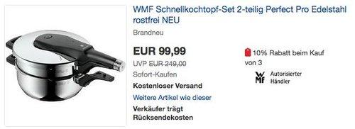 eBay WMF-Aktion: WMF Schnellkochtopf-Set 2-teilig Perfect Pro 22 cm - jetzt 21% billiger