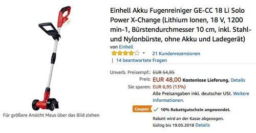 Einhell Akku Fugenreiniger GE-CC 18 Li Solo Power X-Change - jetzt 10% billiger
