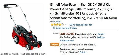 Einhell Akku-Rasenmäher GE-CM 36 Li Kit Power X-Change  inkl. 2 x 3,0 Ah Akku - jetzt 15% billiger