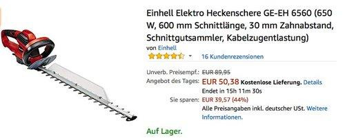 Einhell Elektro Heckenschere GE-EH 6560 - jetzt 25% billiger