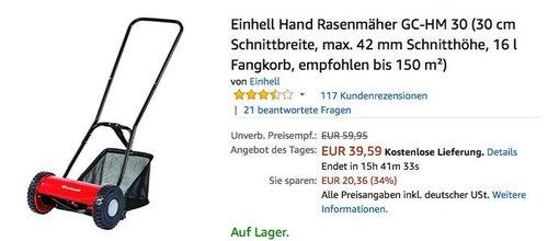 Einhell Hand Rasenmäher GC-HM 30 - jetzt 20% billiger
