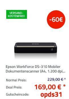 Epson WorkForce DS-310 Mobiler Dokumentenscanner - jetzt 25% billiger