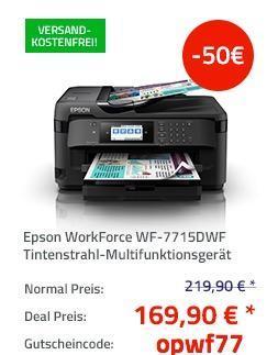 Epson WorkForce WF-7715DWF Tintenstrahl-Multifunktionsgerät, A3, 4-in-1 - jetzt 19% billiger