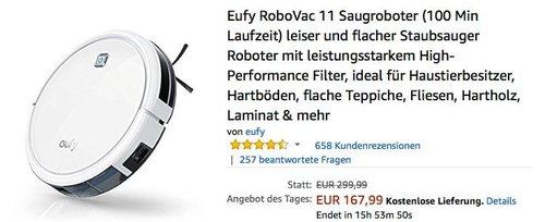 Eufy RoboVac 11 Saugroboter weiß - jetzt 15% billiger