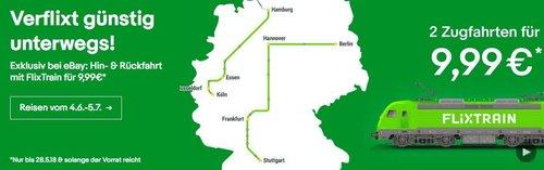 FlixTrain - Gutschein für 2 Zugfahrten Deutschlandweit für nur 9,99€ - jetzt 50% billiger