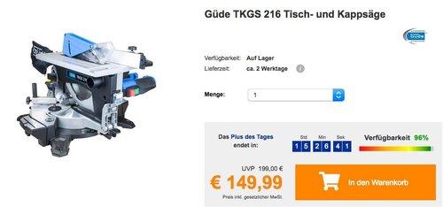 Güde TKGS 216 Tisch- und Kappsäge - jetzt 21% billiger