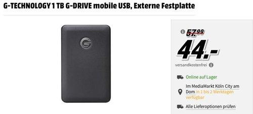 G-TECHNOLOGY 1 TB G-DRIVE mobile USB, Externe Festplatte - jetzt 24% billiger