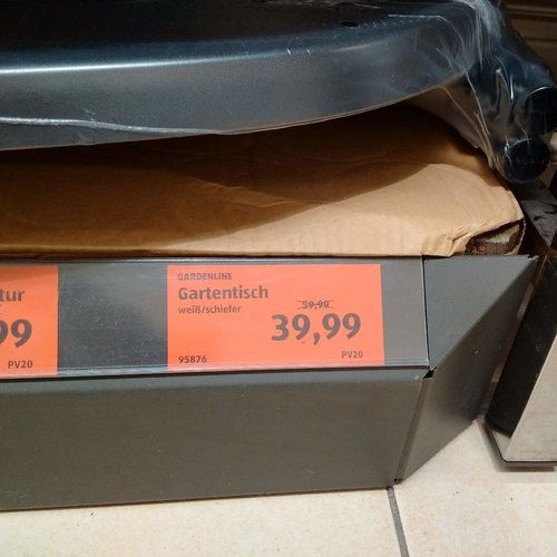 GARDENLINE Gartentisch weiß /schiefer - jetzt 33% billiger