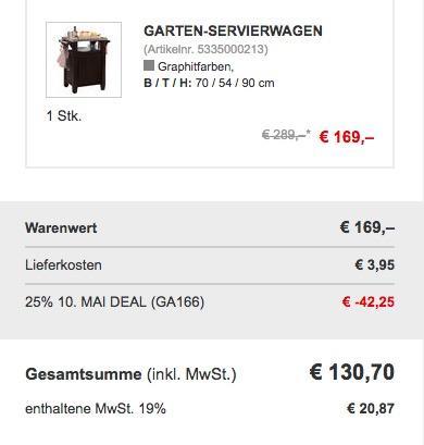 Garten-Servierwagen 90x70x54 cm - jetzt 24% billiger