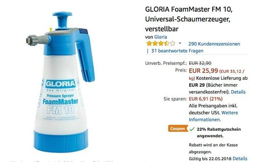 GLORIA FoamMaster FM 10 Universal-Schaumerzeuger - jetzt 22% billiger