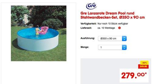 Gre Lanzarote Dream Pool rund Stahlwandbecken-Set, Ø350 x 90 cm - jetzt 8% billiger