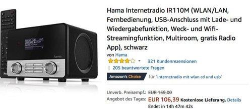 Hama Internetradio IR110M - jetzt 16% billiger