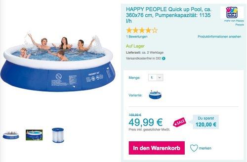 HAPPY PEOPLE Quick up Pool, ca. 360x76 cm, Inkl. 12 V Filterpumpe - jetzt 42% billiger