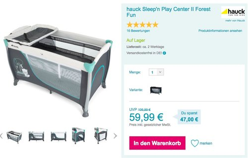 hauck Sleep'n Play Center II Forest Fun - jetzt 25% billiger