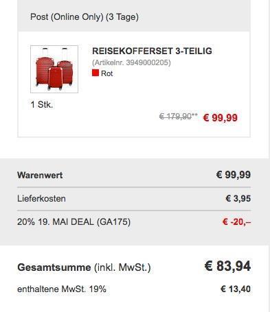 Hoffmanns ABS-Reisekoffer-Set 3tlg - jetzt 18% billiger