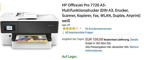 HP OfficeJet Pro 7720 A3-Multifunktionsdrucker - jetzt 22% billiger