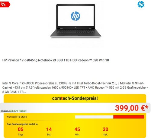 HP Pavilion 17-bs045ng Notebook i3 8GB 1TB HDD Radeon™ 520 Win 10 - jetzt 21% billiger