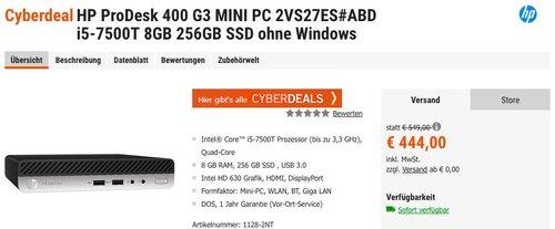 HP ProDesk 400 G3 MINI PC 2VS27ES#ABD i5-7500T 8GB 256GB SSD ohne Windows - jetzt 11% billiger