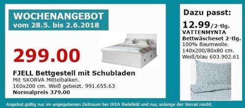 IKEA FJELL Bettgestell mit Schubladen 160x200 cm - jetzt 21% billiger