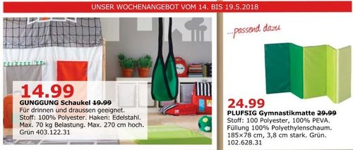 IKEA GUNGGUNG Schaukel - jetzt 25% billiger