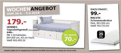 IKEA HEMNES Tagesbettgestell - jetzt 28% billiger