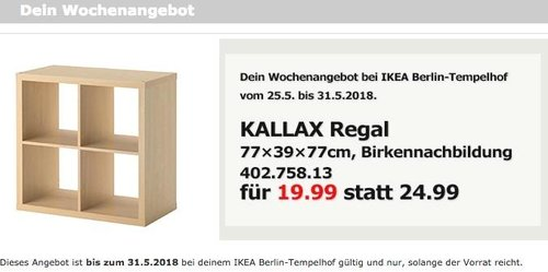 IKEA KALLAX Regal, 77x39x77 cm, Birkennachbildung - jetzt 20% billiger
