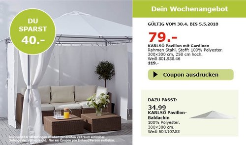 IKEA KARLSÖ Pavillon mit Gardinen - jetzt 34% billiger