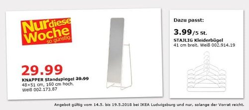 IKEA KNAPPER Standspiegel - jetzt 25% billiger