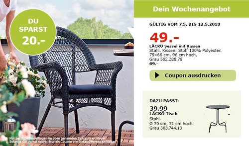 IKEA LÄCKÖ Sessel mit Kissen - jetzt 29% billiger