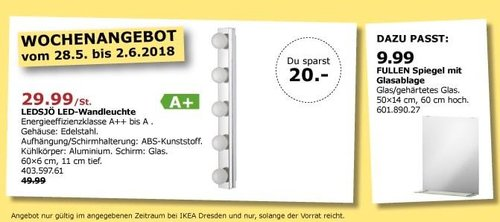IKEA LEDSJÖ LED-Wandleuchte - jetzt 40% billiger