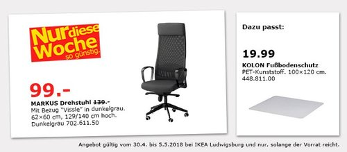IKEA MARKUS Drehstuhl - jetzt 29% billiger