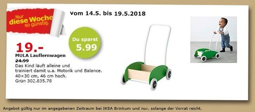 IKEA MULA Lauflernwagen - jetzt 24% billiger