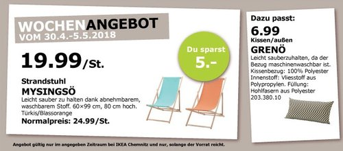 IKEA MYSINGSÖ Strandstuhl - jetzt 20% billiger