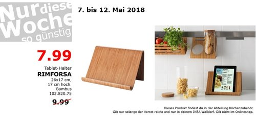 IKEA RIMFORSA Tablet-Halter - jetzt 20% billiger