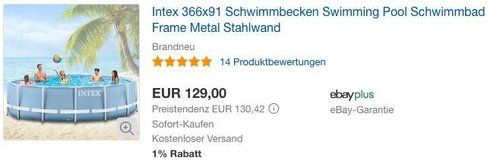 Intex 366x91 Schwimmbecken Swimming Pool - jetzt 13% billiger