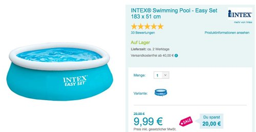 INTEX® Swimming Pool - Easy Set 183 x 51 cm - jetzt 25% billiger