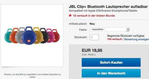 JBL Clip+ Bluetooth Lautsprecher mit Karabinerhaken - jetzt 27% billiger