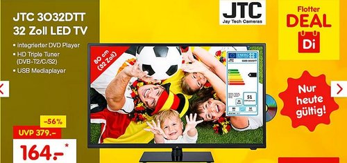 JTC 3032DTT 32 Zoll LED TV mitintegriertem DVD-Player - jetzt 18% billiger