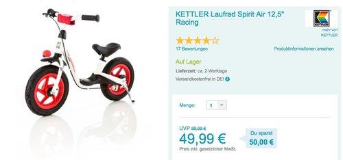 """KETTLER Laufrad Spirit Air 12,5"""" Racing - jetzt 18% billiger"""